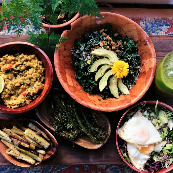 variety of healthy food on colorful textile