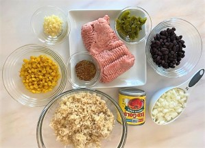 Raw ground turkey and other ingredients for Southwestern Stuffed Pepper Boats