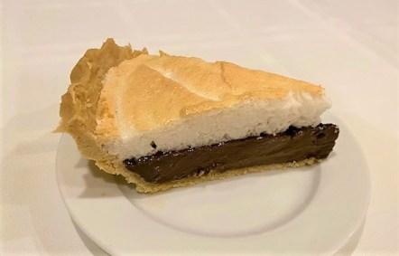 slice of chocolate meringue pie