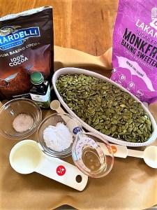 Chocolate pumpkin seed butter ingredients