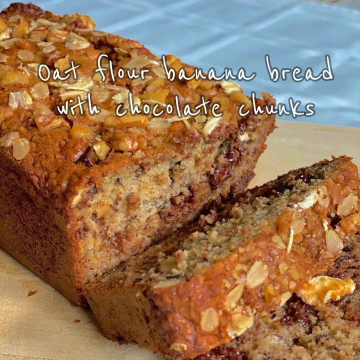 Banana Bread with Oat Flour sliced to reveal melty chocolate