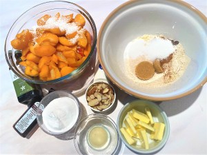 Ingredients for apricot crumble