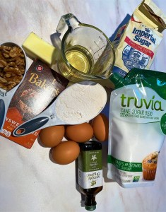 Ingredients for carb-conscious brownies made with Erythritol