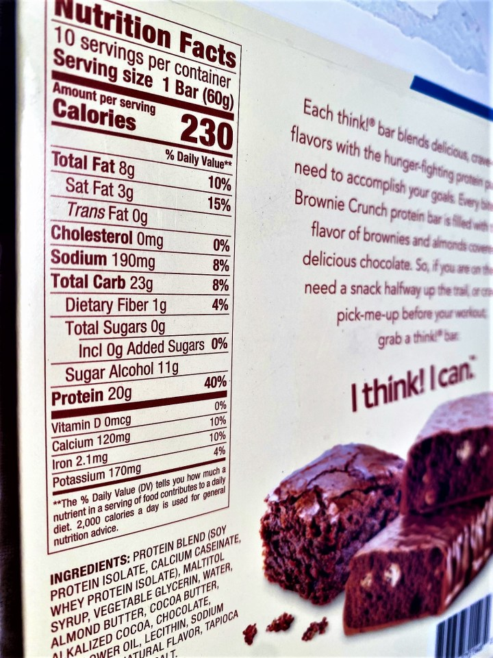 nutrition label from protein bar showing sugar alcohols