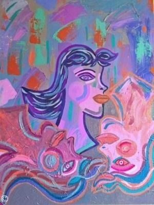 Abstract Portrait Woman Women Original Authentic Painting Artwork Art Purple Pink Medium Size