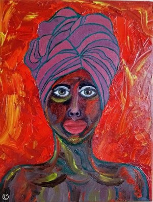 Artwork African American Women Woman Girl Girls Portraits Black People of Color Dukhu Head Wrap Turban Paintings Art Authentic Original
