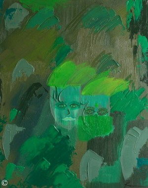 Artwork Painting of Indian Couple People India Abstract Art Lime Green Original Authentic Medium Size