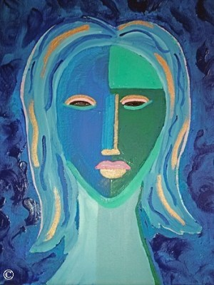 Authentic Original Artwork Abstract Face Faces Figurative Female Woman Women Painting Paintings Blue Green Teal
