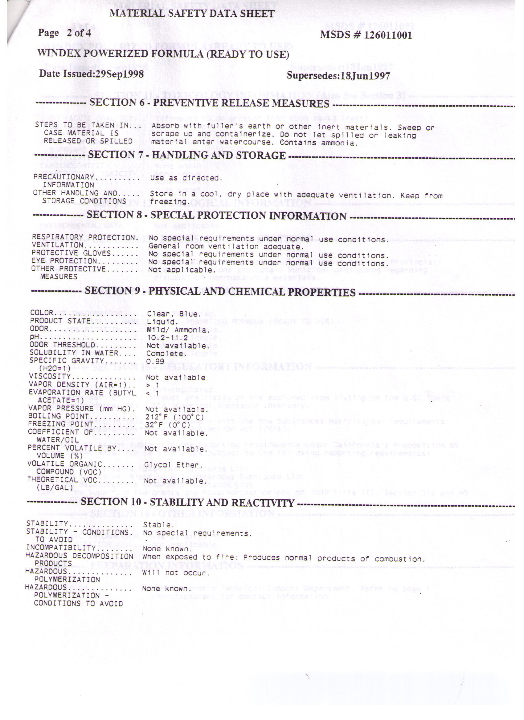 Fresh Products Msds Sheets