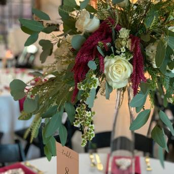Burgundy, green, and white florals