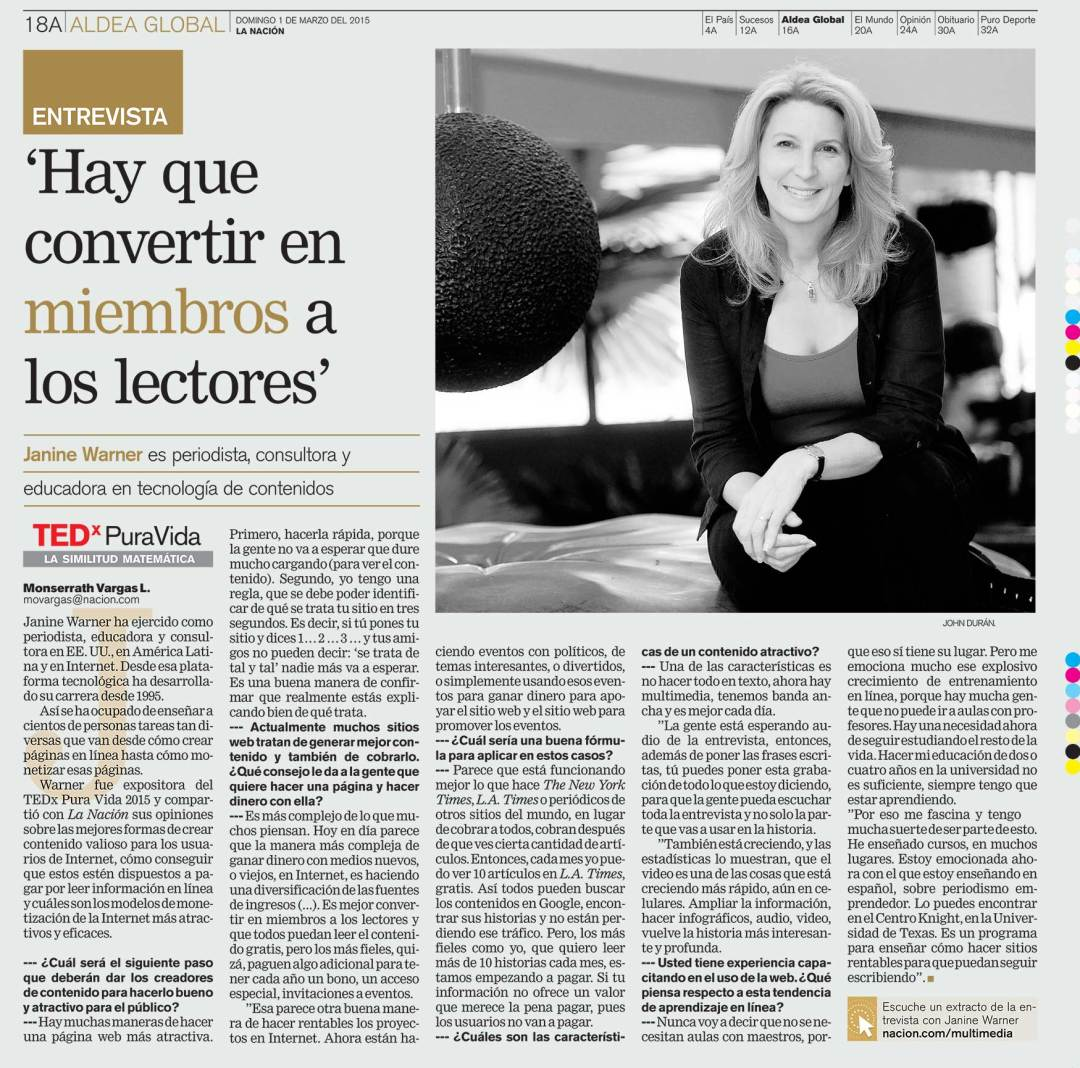 Janine Warner interview en La Nacion de Costa Rica