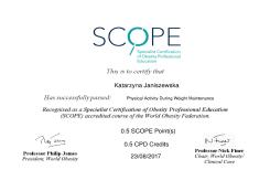 Physical Activity During Weight Maintenance. Specialist Certification of Obesity Professional Education (SCOPE)