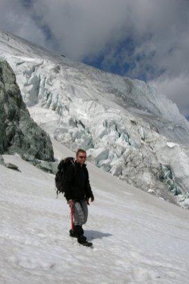 Seraki na Glacier de Pigne d'Arolla.