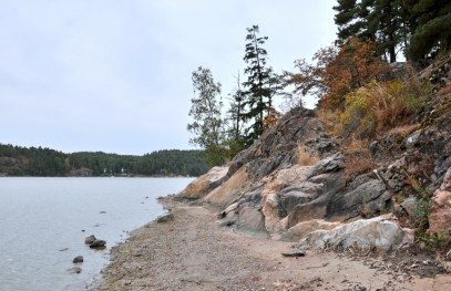 Brzegi jęzorów bałtyckich wcinających się w ląd są często skaliste i obrośnięte drzewami.