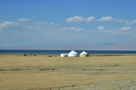 Nad jeziorem znajduje się w sezonie pasterskim kilkadziesiąt jurt i pasą się setki koni.