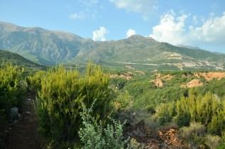 Po lewej ścieżka wzdłuż kanionu Gjipe, który leży w dole po prawej.