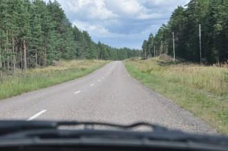 Charakterystyczna droga na Łotwie. Nie byle jaka... Krajowa A11. Jak się później okazało - ruch standardowy: 1 samochód na 10 minut :).