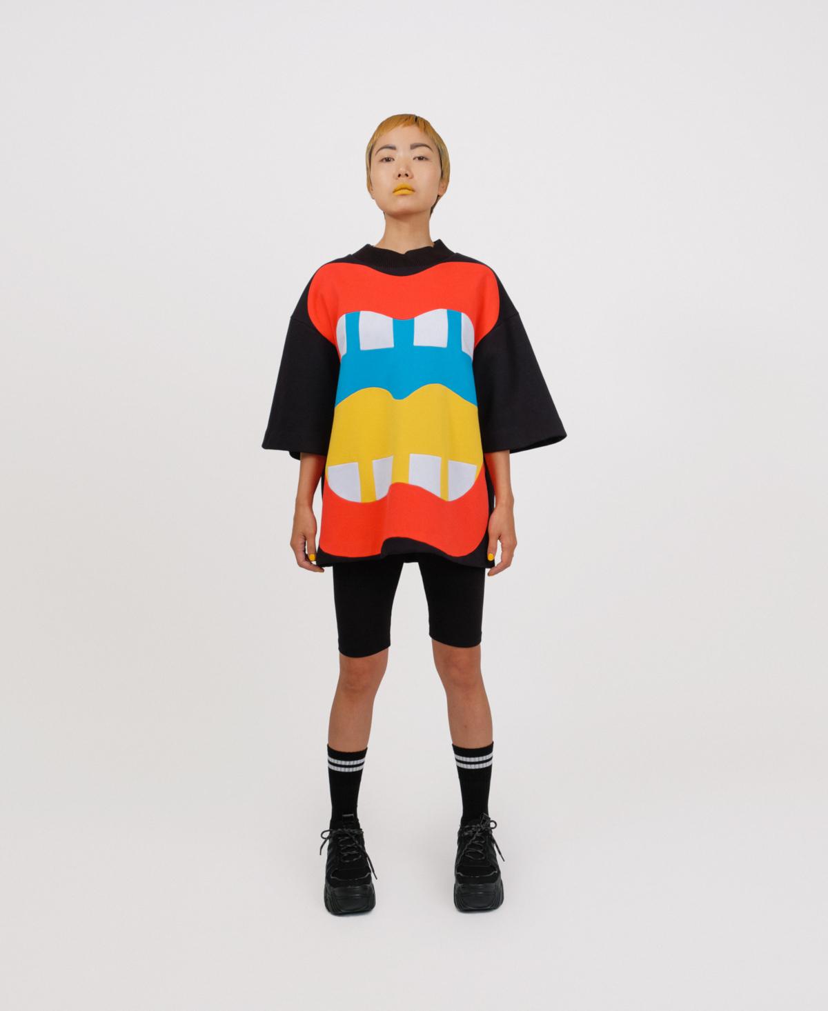 black patchwork sweater