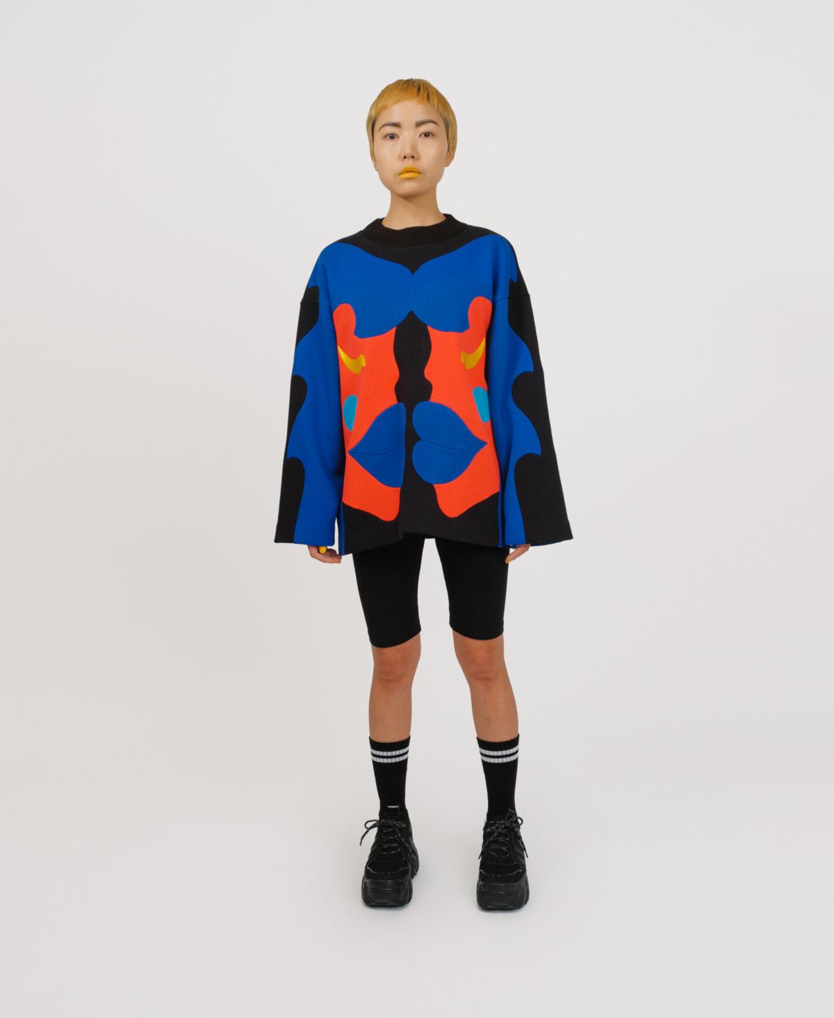 blue patchwork sweater