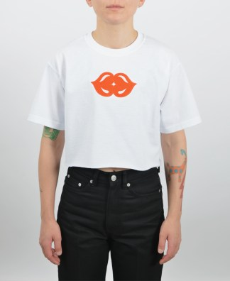 Embroidered kiss cropped t-shirt