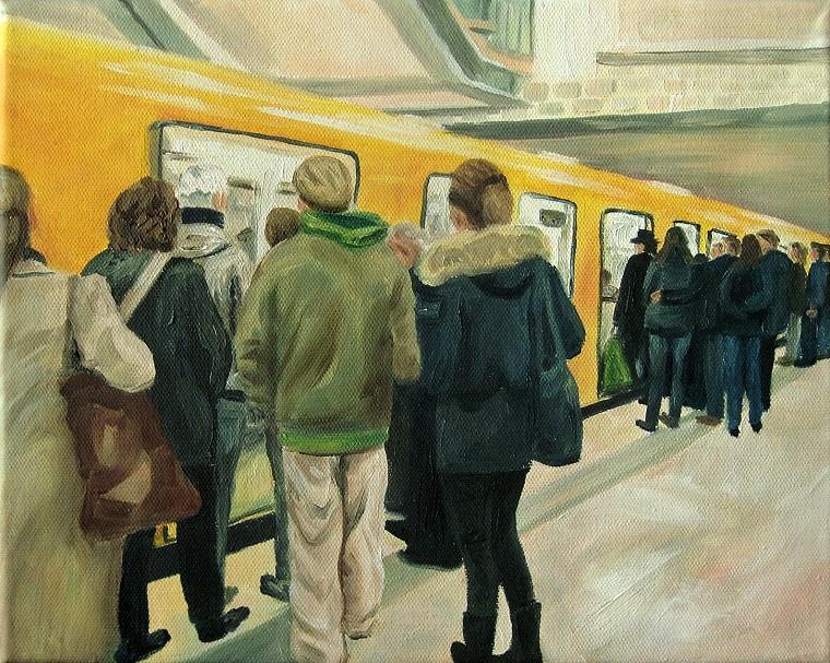 U-Bahnstation, Kunst, Malerei Ölgemälde Painting