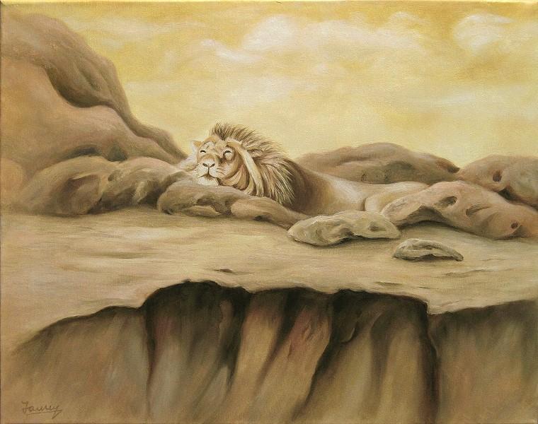 Dösender Löwe Kunst Ölmalerei Gemälde Painting Tiere