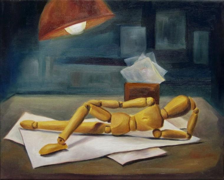 Holzi in Pose, Kunst, Malerei Ölgemälde Painting