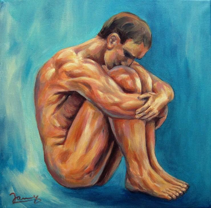 Mann, Moderne Kunst Malerei Gemälde Painting Aktmalerei männlicher Akt