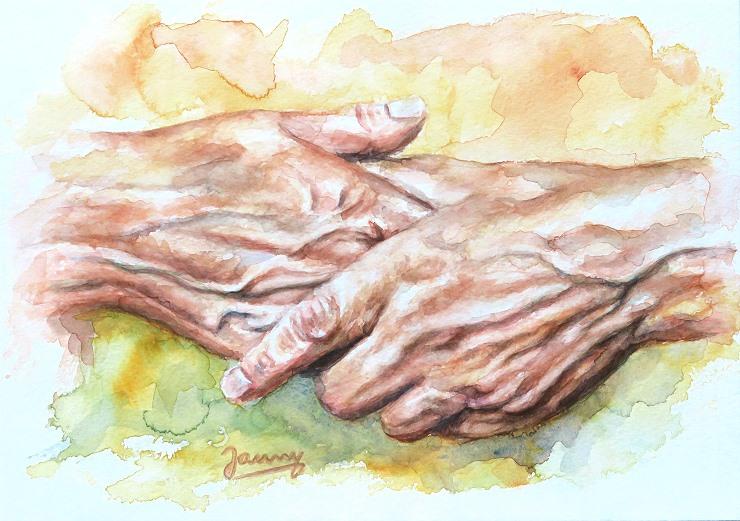 Hände Aquarell Kunst Malerei Painting
