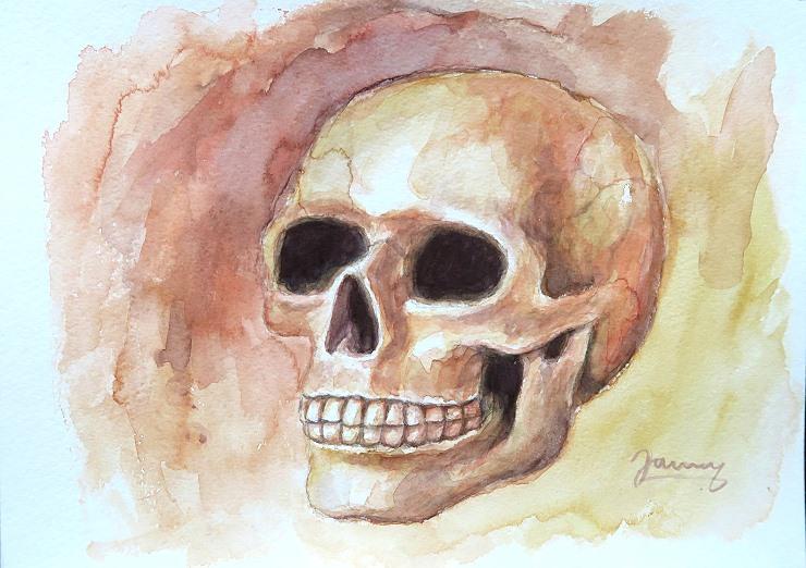Skull 1, Aquarell Kunst Malerei, Totenkopf
