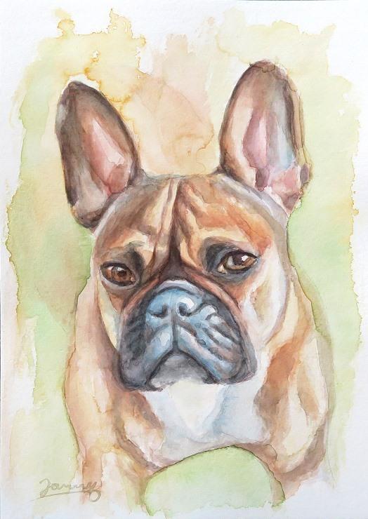 Momo Französische Bulldogge Hund Aquarell Bild Gemälde Painting