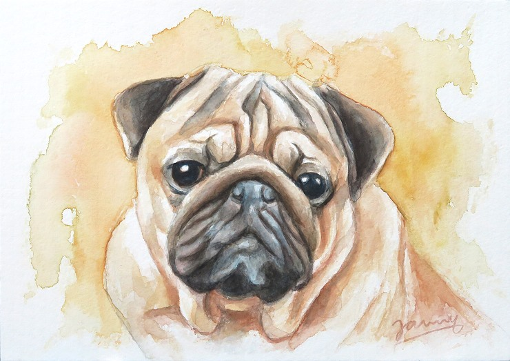 Mops Aquarell Gemälde Malerei Hund Painting