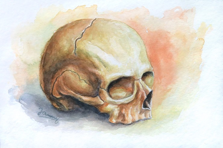 Skull 2, Aquarell Kunst Malerei Totenkopf