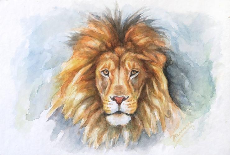 Lion Aquarell Löwe Gemälde Painting