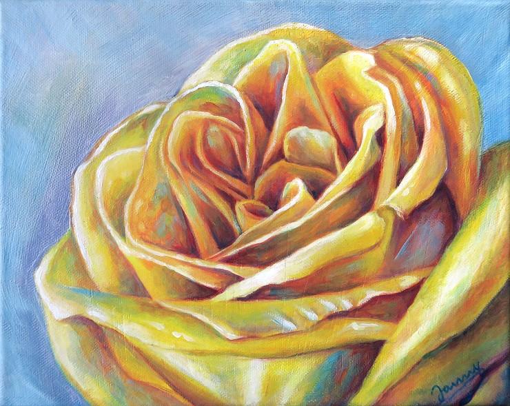Gelbe Rose, Acrylgemälde modern