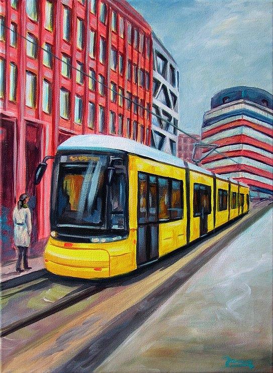 Tram Berlin moderne Kunst Gemälde Acrylmalerei Berlinbilder, weil wir dich lieben