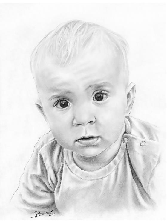 Baby Portrait Kohle Zeichnung vom Foto