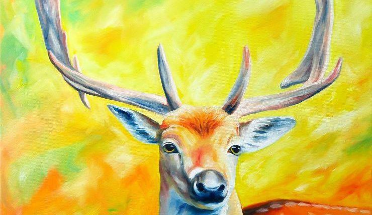 Hirsch Portrait Gemälde Ölbild, Moderne Kunst von Janny Cierpka