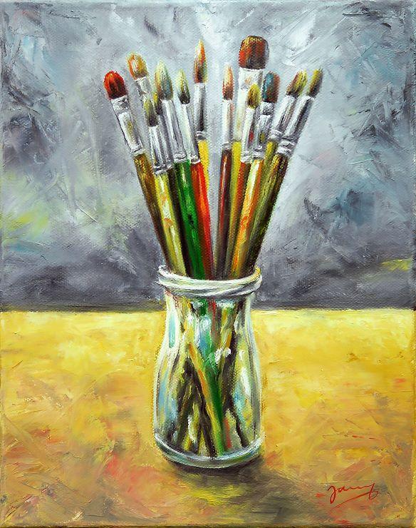 Pinsel stillleben Ölbild Malerei Moderne Kunst Painting