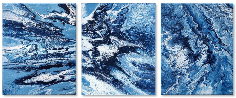 Jannys Art Fluid Painting Triptychon