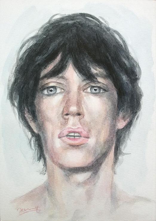 Mick Jagger Portrait Aquarell Kunst Malerei Gemälde