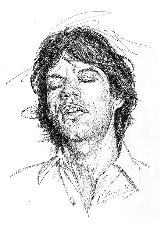 Rolling Stones Mick Jagger 1978 Portrait Zeichnung Scribble Art Kunst