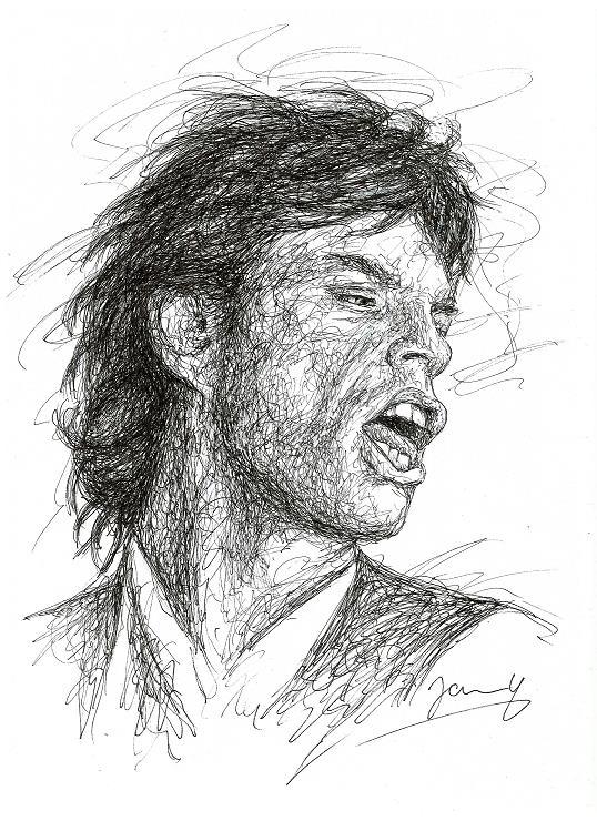 Rolling Stones Mick Jagger Portrait Zeichnung Scribble Art Kunst 1987
