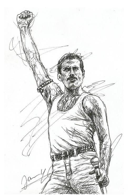Freddie Mercury Queen Scribble Portrait Kunst Zeichnung