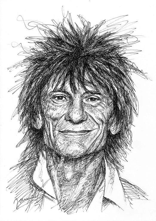 Ronnie Wood Zeichnung Scribble Art Portrait