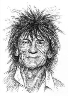 Ronnie Wood Scribble Portrait Zeichnung