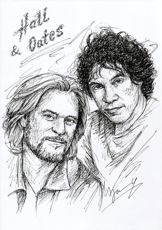 hall and oates fanart Zeichnung Scribble Portrait