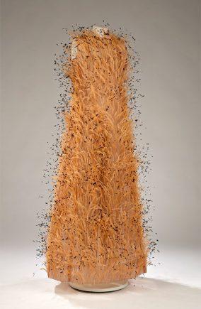 Evening dress and jumpsuit, silk, ostrich feathers, Cristóbal Balenciaga, Paris, 1966. Gift of Mme Jeanine C. Beaubien, M2012.132.1, MR2018.2.1 © McCord Museum