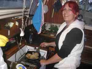 Birgitte cooking dinner with us.