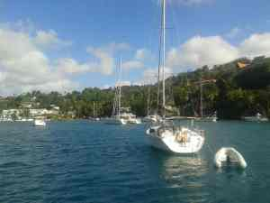 Ankernde Boote Marigot Bay